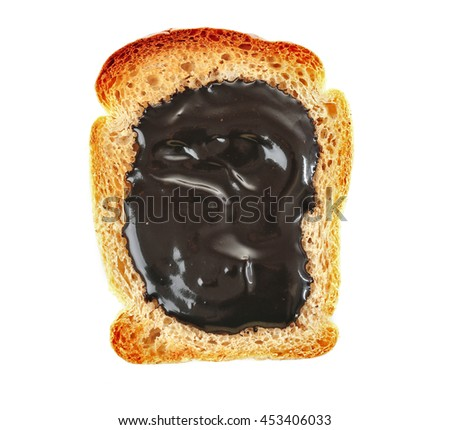 Melted chocolate paste on toasted piece of bread, isolated on white - stock photo