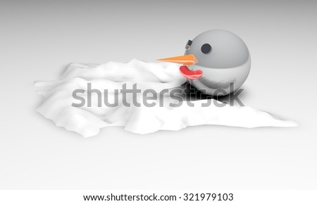 Melted snowman - stock photo