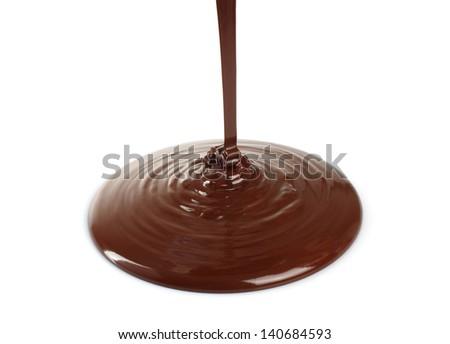 Melting chocolate dripping on white background   - stock photo