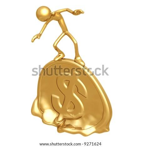 Melting Gold Dollar Coin - stock photo