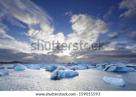 Melting icebergs at Jokulsarlon lagoon, Iceland - stock photo