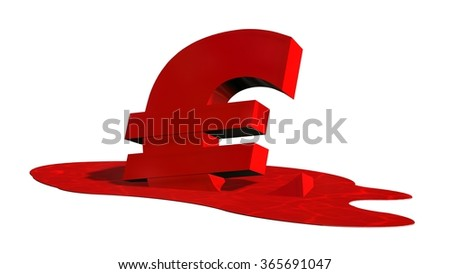 Melting red euro sign - stock photo