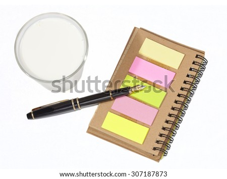 memo book and fountain pen ,concept write to order for breakfast  - stock photo