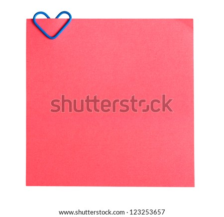 memo paper and clip in the form of heart isolated on white background - stock photo