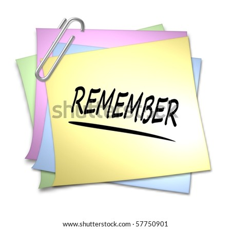 Memo with Paper Clip - remember - stock photo