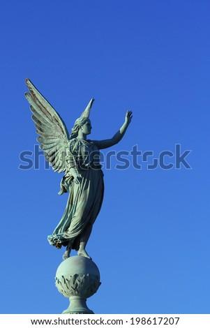 Memorial column for the naval hero Ivar Huitfeldt, Copenhagen, Denmark, Europe  - stock photo
