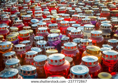Memorial Day - Group of Candles Group of candles - lamps with candle lights. All Saint's Day. - stock photo