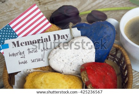 memorial day honoring those who have served - card. on American flag. Patriotic Breakfast sunlight filter - stock photo