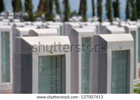 Memorial park for Turkish martyrs who lost their lives in 1915, in Canakkale, Turkey - stock photo