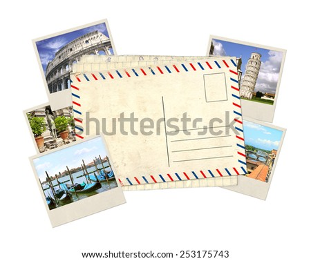 Memories of Italy. Old post card and photos - stock photo