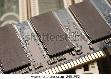 Memory module on motherboard - stock photo