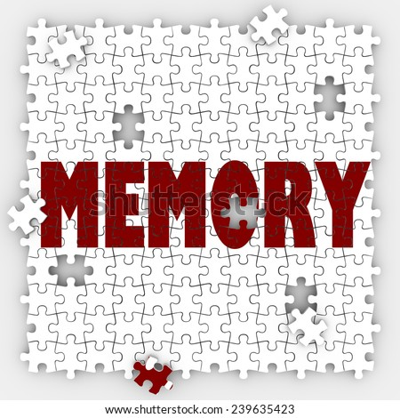 Memory word on puzzle pieces with holes to illustrate missing memories and losing ability to recall names, past facts, faces and other things that were once memorable - stock photo