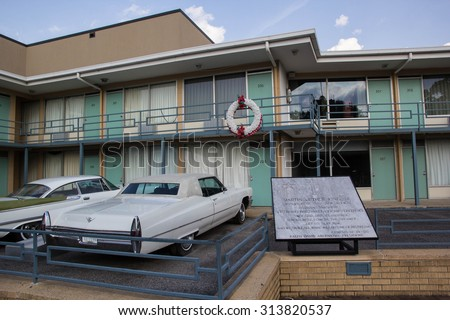 MEMPHIS, TENNESSEE, USA-SEPTEMBER 6: Visitors tour the Lorraine Motel on September 6, 2015. This is the site that Dr. Martin Luther King, Jr was assassinated in 1968 and is now the civil rights museum - stock photo