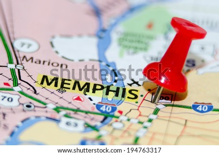 memphis tn city pin on the map - stock photo