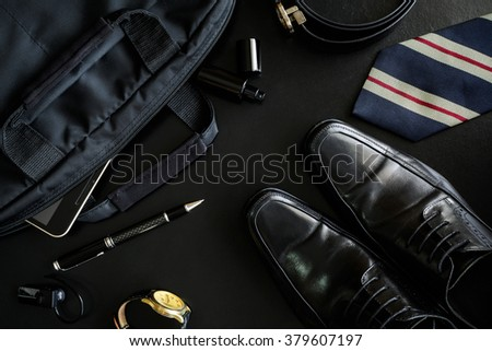 men accessories on black background, Business themes - stock photo