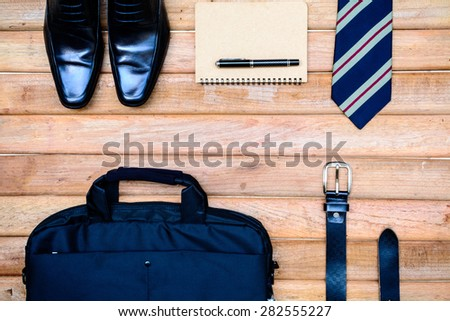men accessories on old wooden background, Business themes with copy space - stock photo