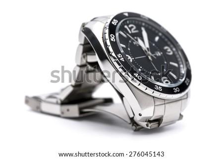 Men analog watch on white background. - stock photo