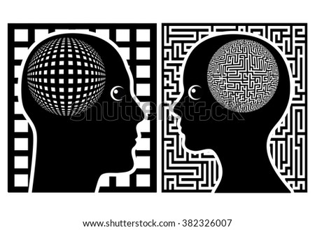 Men and Women see the world differently. Male and female brains process information in different ways - stock photo