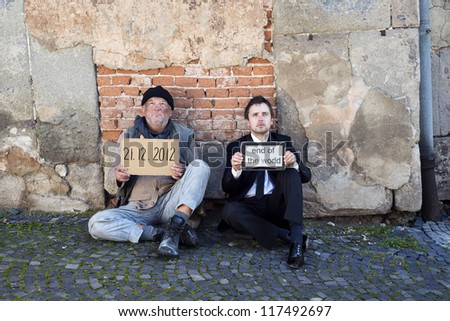 Men are waiting for end of the world. - stock photo