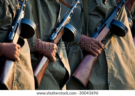 men arms hold assault rifle - stock photo