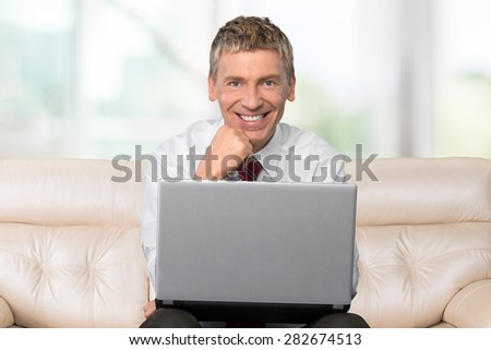Men, Computer, Laptop. - stock photo