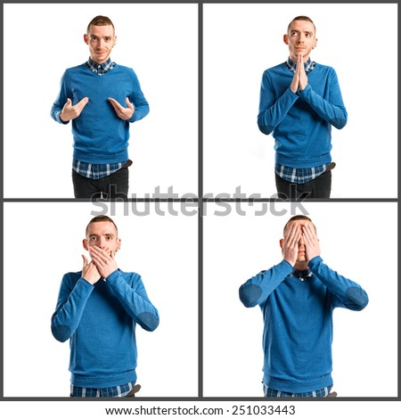 Men covering his eyes, mouth and pleading - stock photo