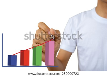 men drawing forex graph in the air with marker - stock photo