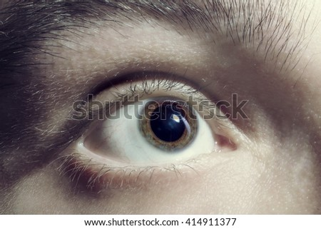 Men eye with red blood vessels closeup - stock photo