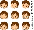 Men facial expression icon - stock photo