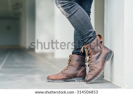 Men fashion brown leather boots  - stock photo