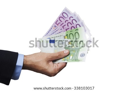 Men Hand in Suit Holding Euro Bancknotes Isolated on White Background - stock photo