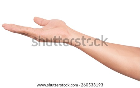 Men hands sign isolated is on white background - stock photo
