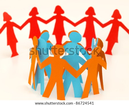 men in the chain and women in the background - stock photo