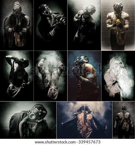 Men in the gas mask, on the black background surrounded by smoke, , survival soldier after apocalypse. - stock photo