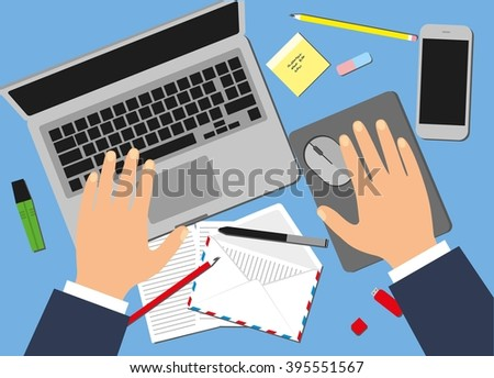 Men in the workplace. Top view of male hands, desk, laptop screen, stock illustration. - stock photo
