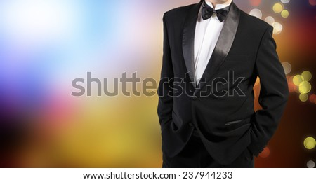 Men in tuxedo and Christmas - stock photo