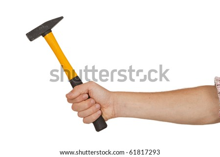 Men is holding a hammer isolated on white background - stock photo
