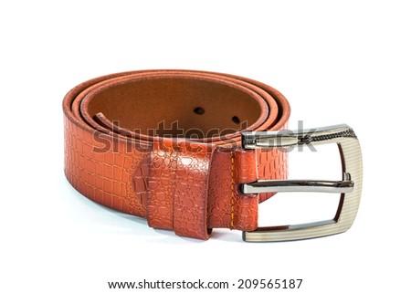 men leather belt on white background - stock photo