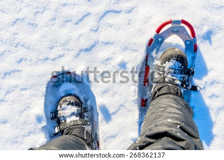 men legs are shod with snowshoes on the snow - stock photo