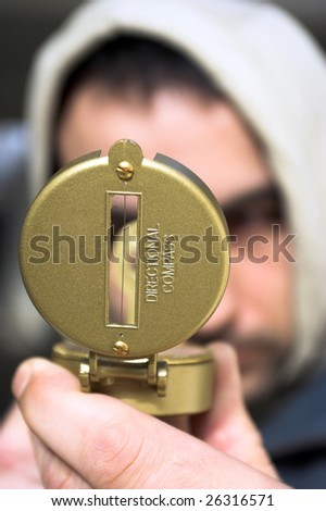 Men look for reference point - stock photo