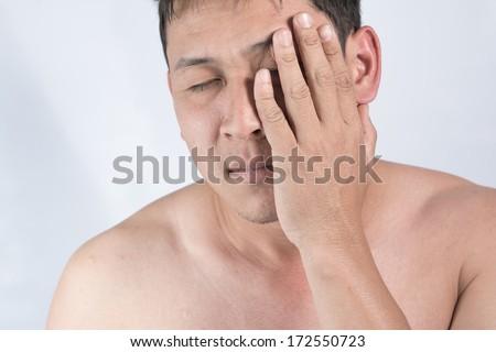 Men migraine pain - stock photo