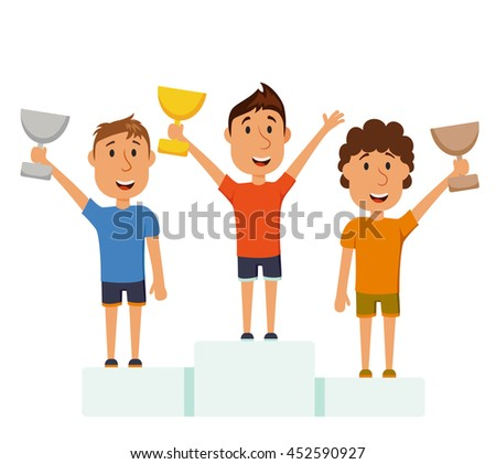 Men on a pedestal. Athlete win the competition. The final of marathon.  The award for first place.  Winner cartoon character with the cup on the podium isolated on white background - stock photo