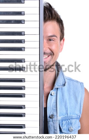 Men playing digital piano. Isolated over white background. - stock photo