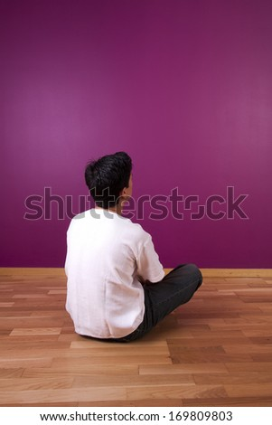 men resting at home in the floor - stock photo