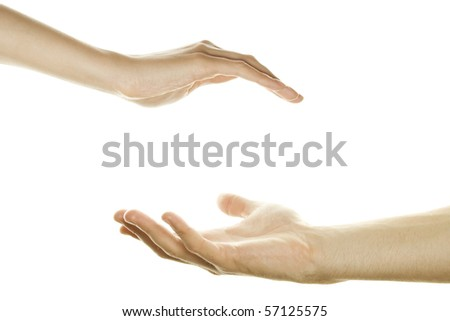 Men's and women's open palms. Protection mark. Isolated on white background - stock photo