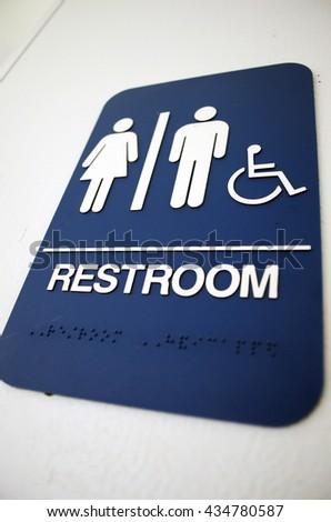 Men's and Women's Restroom Sign - stock photo