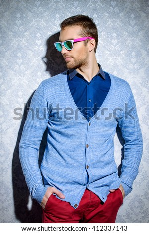 Men's beauty, fashion. Elegant good looking young man. - stock photo