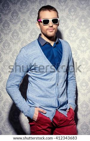 Men's beauty, fashion. Elegant good looking young man. - stock photo
