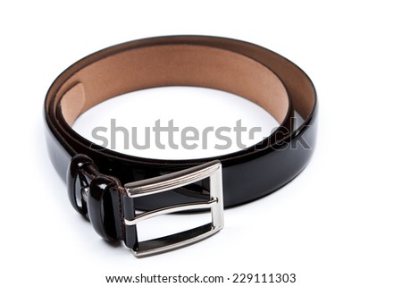 Men's belt. Isolated over white. - stock photo
