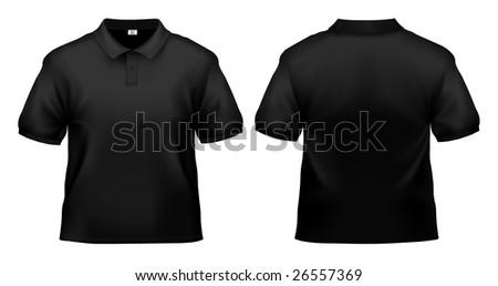 Men's black polo shirt design template isolated on white. - stock photo